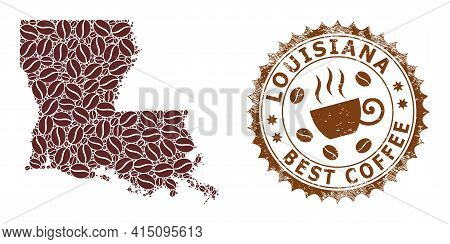 Mosaic Map Of Louisiana State With Coffee And Grunge Badge For Best Coffee