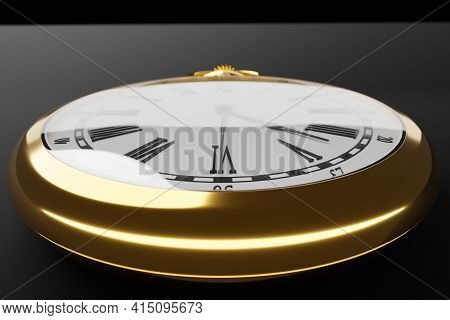 3d Illustration Close Up  Of Antique Golden Round Clock On Black Isolated Background. Stopwatch Icon