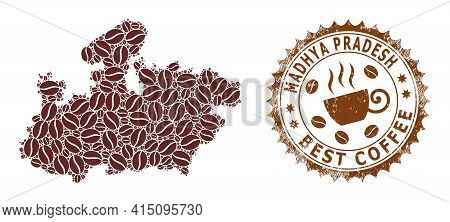 Mosaic Map Of Madhya Pradesh State Of Coffee And Scratched Badge For Best Coffee