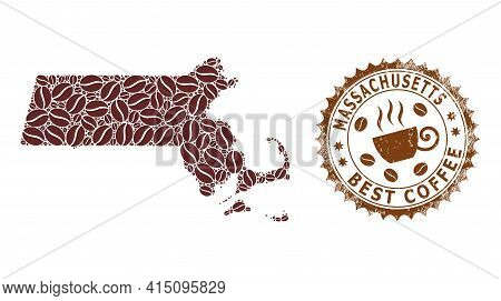Mosaic Map Of Massachusetts State With Coffee And Textured Award For Best Coffee