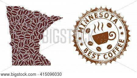 Mosaic Map Of Minnesota State With Coffee Beans And Grunge Stamp For Best Coffee