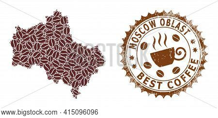 Mosaic Map Of Moscow Region From Coffee And Scratched Seal For Best Coffee