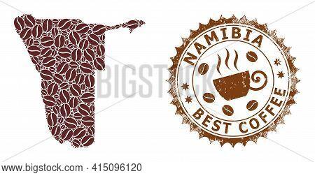 Mosaic Map Of Namibia From Coffee Beans And Scratched Award For Best Coffee