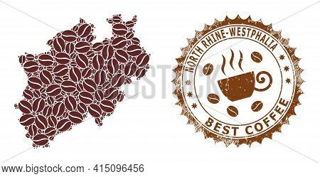 Mosaic Map Of North Rhine-westphalia Land From Coffee Beans And Grunge Seal For Best Coffee