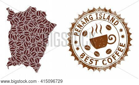 Mosaic Map Of Penang Island Of Coffee And Textured Mark For Best Coffee