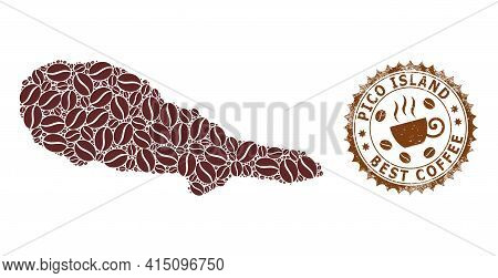 Mosaic Map Of Pico Island Of Coffee Beans And Distress Stamp For Best Coffee