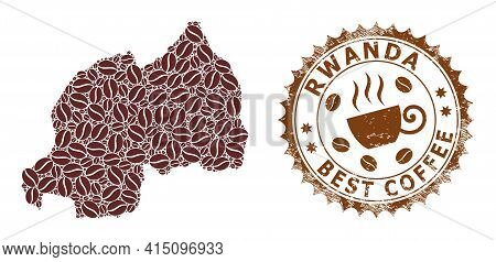 Mosaic Map Of Rwanda With Coffee Beans And Grunge Mark For Best Coffee