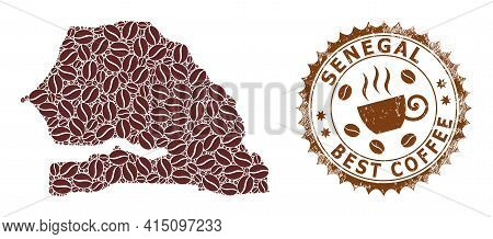 Mosaic Map Of Senegal From Coffee Beans And Textured Badge For Best Coffee