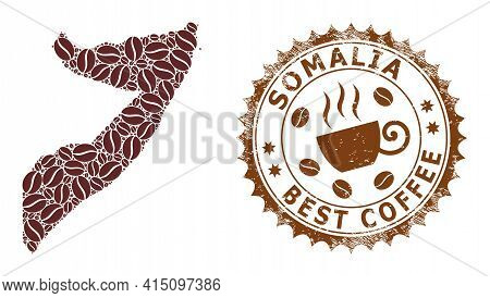 Mosaic Map Of Somalia With Coffee Beans And Distress Seal For Best Coffee