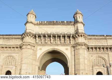 MUMBAI, INDIA - JANUARY 11, 2017: Gateway of India detail. The Gateway of India was built to commemorate the visit of King George V and Queen Mary to Mumbai in 1911.