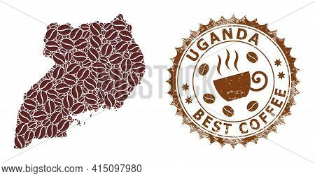 Mosaic Map Of Uganda From Coffee Beans And Grunge Seal For Best Coffee