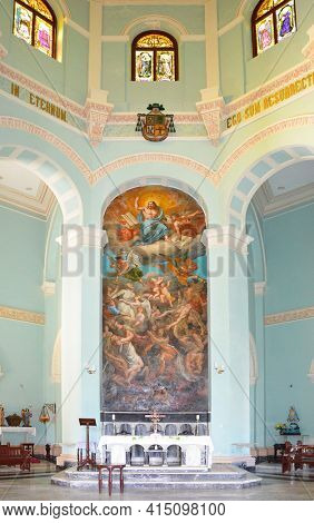 HAVANA, CUBA - JULY 22, 2016: Colon Cemetery Chapel interior. The Cemetery is considered one of the most important in Latin America.