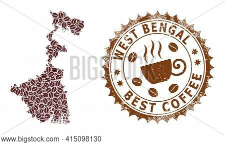 Mosaic Map Of West Bengal State Of Coffee Beans And Textured Mark For Best Coffee