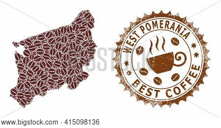 Mosaic Map Of West Pomeranian Voivodeship Of Coffee And Textured Seal For Best Coffee