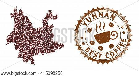 Mosaic Map Of Yunnan Province With Coffee Beans And Scratched Award For Best Coffee