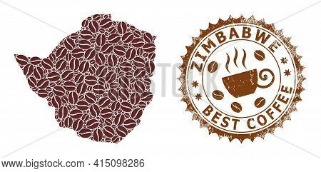 Mosaic Map Of Zimbabwe Of Coffee Beans And Grunge Award For Best Coffee