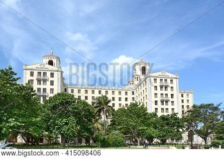 HAVANA, CUBA - JULY 21, 2016: Hotel Nacional de Cuba. Together with Havana's old town the hotel was listed as a UNESCO World Heritage Site in 1982.