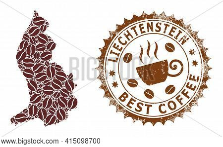 Mosaic Map Of Liechtenstein From Coffee And Scratched Stamp For Best Coffee