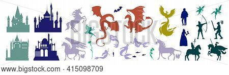 Medieval Castle And Mythical Fairy Tale Character Set, Vector Illustration. Magic Unicorn, Pegasus,