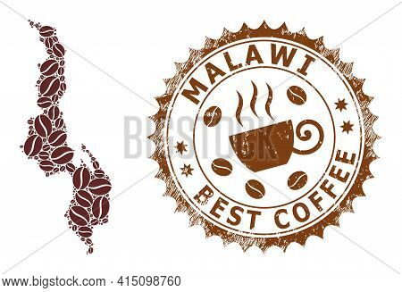 Mosaic Map Of Malawi With Coffee Beans And Grunge Mark For Best Coffee