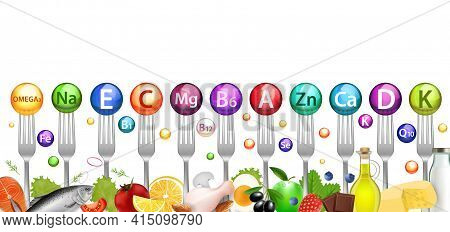 Vitamin Mineral Balls And Foods Rich In Vitamins, Vector Illustration. Healthy Nutrition, Diet, Natu