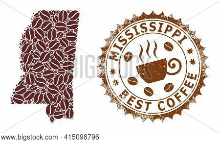Mosaic Map Of Mississippi State Of Coffee Beans And Grunge Badge For Best Coffee