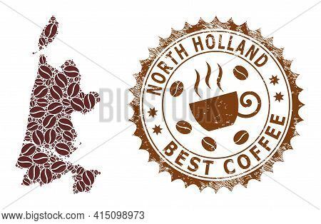 Mosaic Map Of North Holland Of Coffee Beans And Grunge Badge For Best Coffee