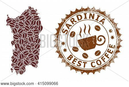 Mosaic Map Of Sardinia Of Coffee Beans And Scratched Award For Best Coffee