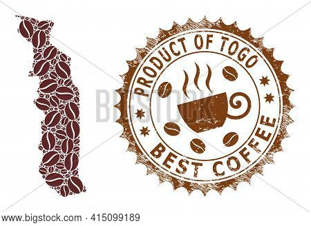 Mosaic Map Of Togo With Coffee And Textured Award For Best Coffee