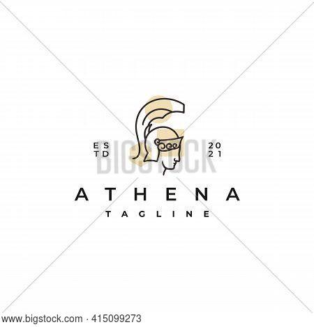 Goddess Greek Athena Line Art Logo Design Template. Elegant, Luxury, Premium Vector