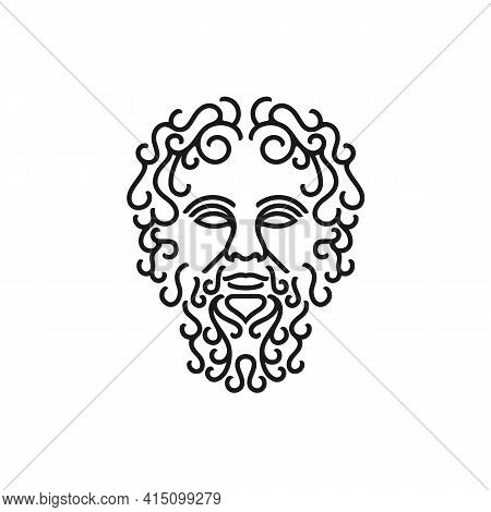Greek God Zeus Line Art Logo. Ancient Greek God Sculpture Philosopher. Face Zeus Triton Neptune Logo