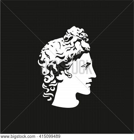 Greek God Apollo Logo. Ancient Greek God Sculpture. Face Apollo Logo Design