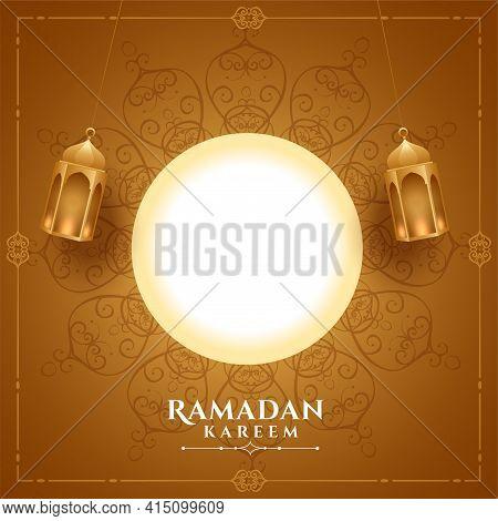 Realistic Ramadan Kareem Greeting With Text Space