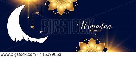 Ramadan Kareem Eid Season Golden Flower Decorative Banner