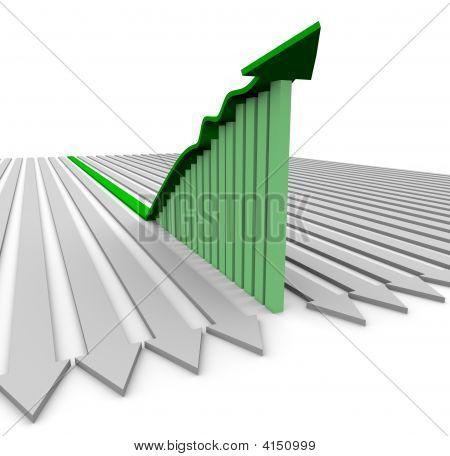 Green Growth Arrow - Bar Graph