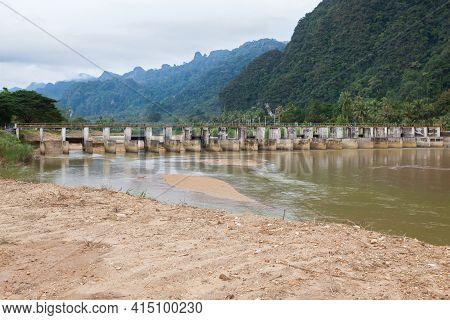 Water Lift Gate,small Dam, Irrigation Dam In Phang Nga.