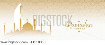 Ramadan Kareem Eid Moon And Mosque Islamic Banner Design