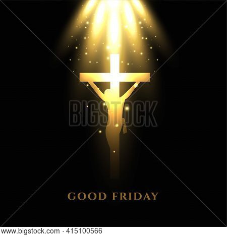 Jesus Crucifixion Cross With Glowing Light Rays Good Friday Background