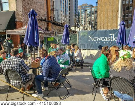 Chicago, Il March 13, 2021, People Eating And Drinking Outside For Saint Patrick\'s Day Due To Covid