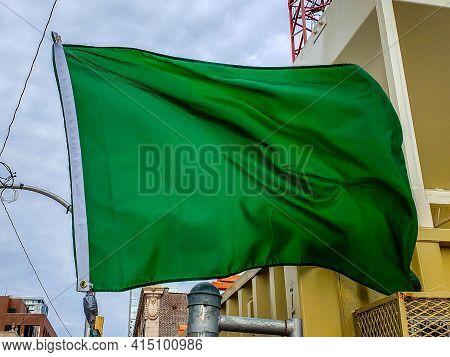 Light Green Flag Waving In The Wind Breeze, Solid Green Color, Islam, Religion, Symbol, Irish, Irela