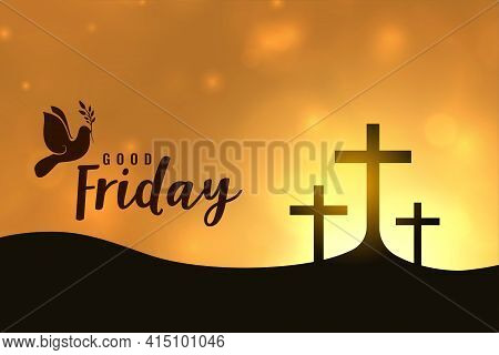Good Friday Easter Day Holy Week Crosses Illustration