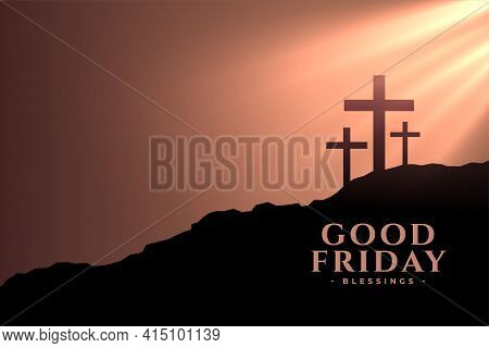 Good Friday Background With Crosses And Sunlight Rays