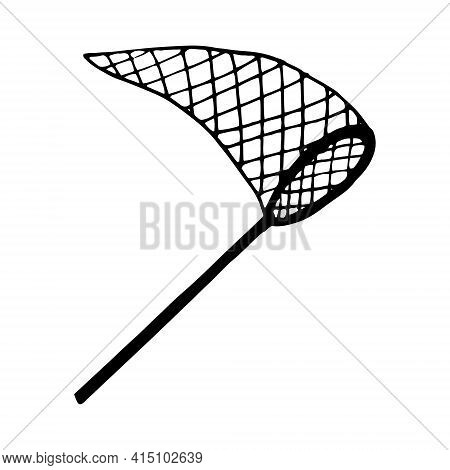 Net Icon. Hand Drawn Doodle Style. Vector, Minimalism, Monochrome, Sketch Net Catch Insects Butterfl