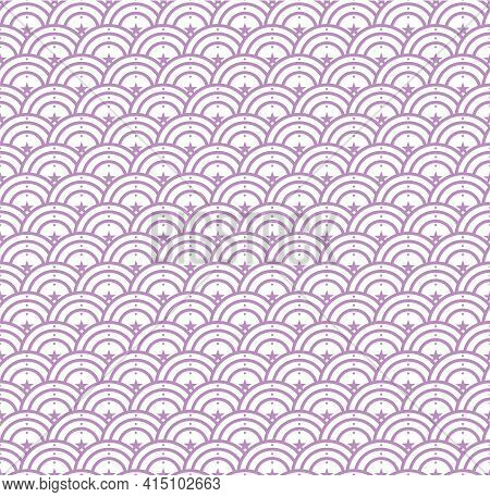 Seamless Abstract Stars Wave Pattern Japanese Tradition Style. Fabric Texture Retro Decorative Wallp