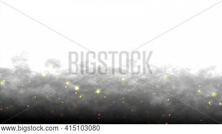 Beautiful Golden Shimmering Dust Particles With Dark On White Background In Slow Motion. Motion Grap