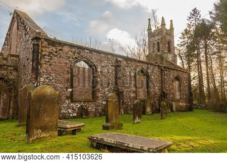 Tongland, Scotland - December 19th 2020: Graveyard And The Remains Of Tongland Church And Abbey, Dum