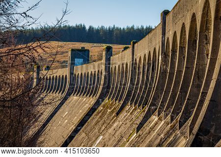 Arches At The Top Of Clatteringshaws Dam, A Gravity Dam On The Galloway Hydro Electric Scheme, Scotl