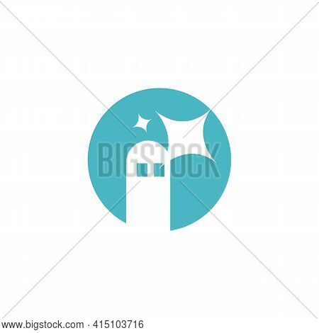 Minimal Abstract Lighthouse Logo And Icon Vector Image. Modern Lighthouse Logo On Circle Shape With