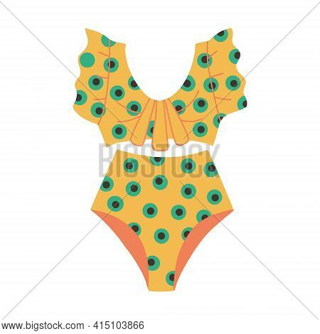 Womens Two-piece Swimsuit With Polka Dot Print. Retro Style Swimsuit. Vector Flat Illustration