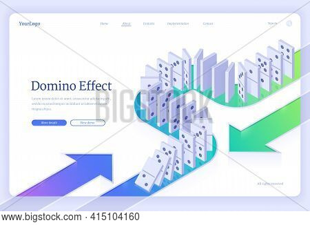 Domino Effect Isometric Landing Page With Dominoes Pieces Row Falling. Business Crisis Management, F
